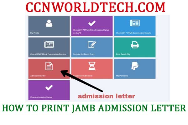 how to print JAMB admission latter