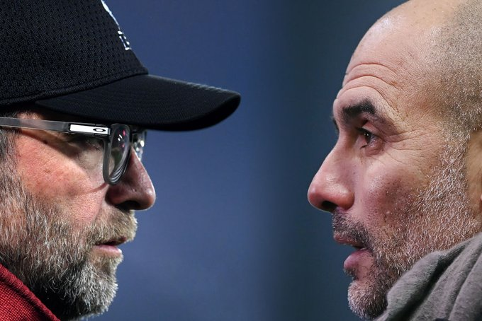 Liverpool manager, Jurgen Klopp and Manchester City's manager, Pep Guardiola