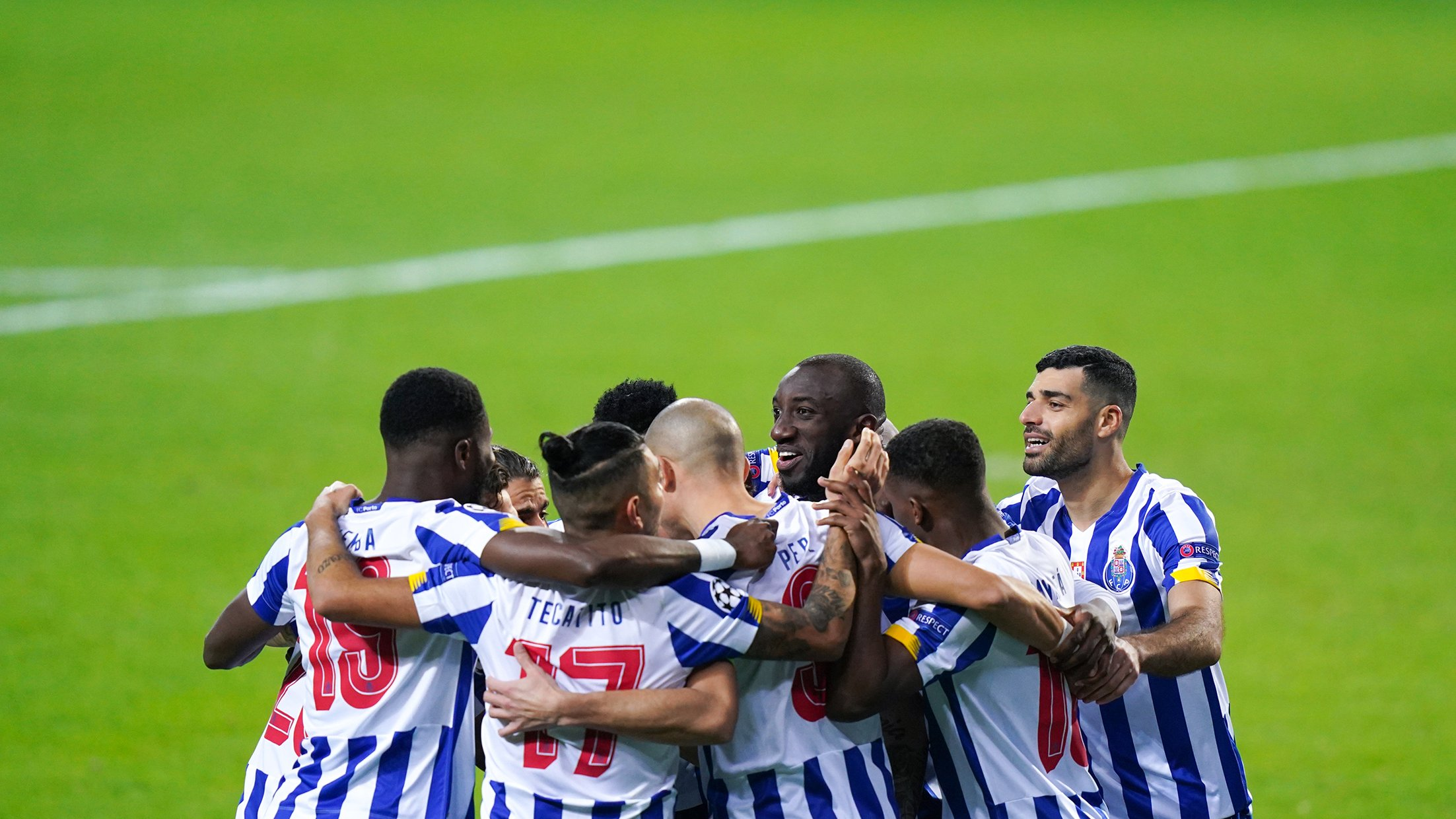 FC Porto celebrates in their win in the reverse fixture against Juventus
