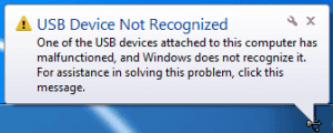 Solve USB Device not Recognized